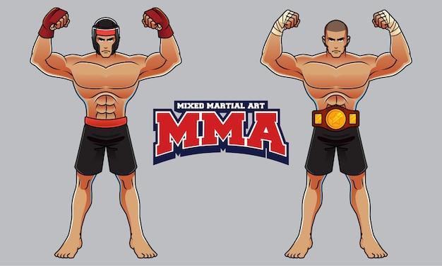 Carattere di atleta di arti marziali miste