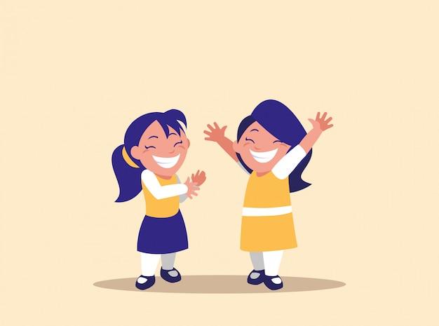 Carattere di avatar di bambine sveglie