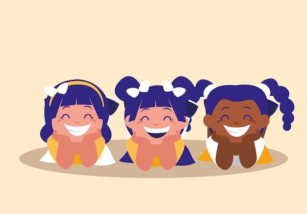 Carattere di avatar felice bambine sveglie