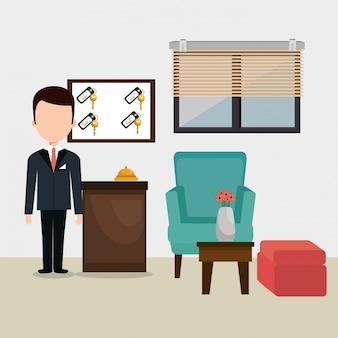Carattere di avatar funzionante della reception dell'hotel