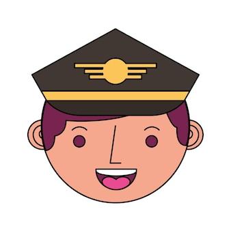 Carattere di avatar pilota testa di aeroplano