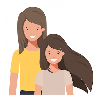 Carattere di avatar sorridente di madre e figlia