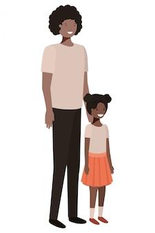 Carattere di avatar sorridente padre e figlia