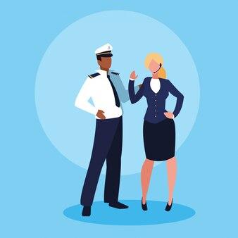 Carattere di avatar uomo e donna d'affari marinaio