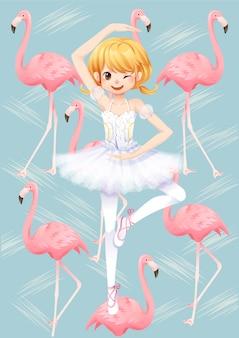 Carattere di ballerina ragazza e fenicottero