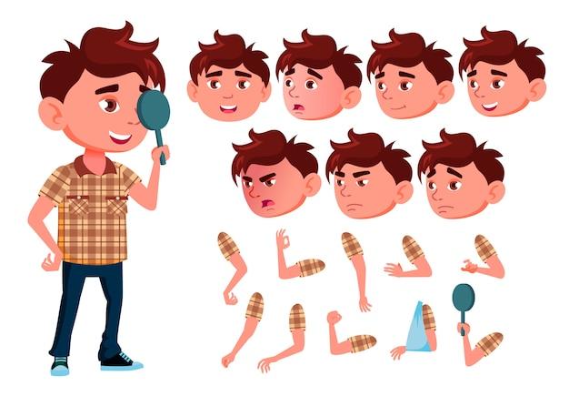Carattere di bambino ragazzo. europeo. costruttore di creazione per l'animazione. affronta le emozioni, le mani.