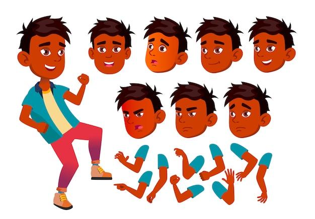 Carattere di bambino ragazzo. indiano. costruttore di creazione per l'animazione. affronta le emozioni, le mani.