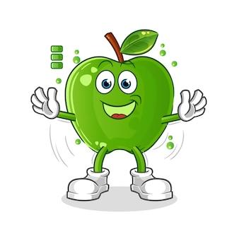 Carattere di batteria piena di mela verde