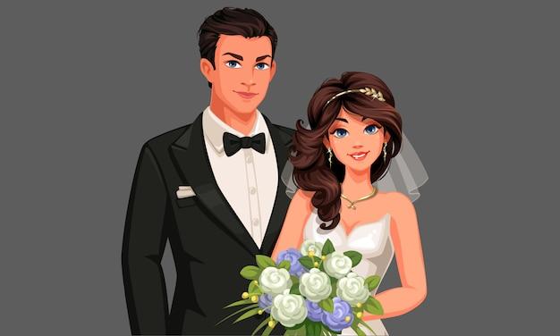Carattere di bella coppia di sposi in possesso di un bouquet