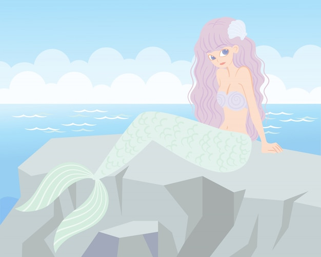 Carattere di bellezza sirena con il mare