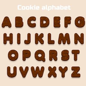 Carattere di biscotto al cioccolato del fumetto, alfabeto biskvit, lettere dell'alimento