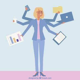 Carattere di businesswoman multitask
