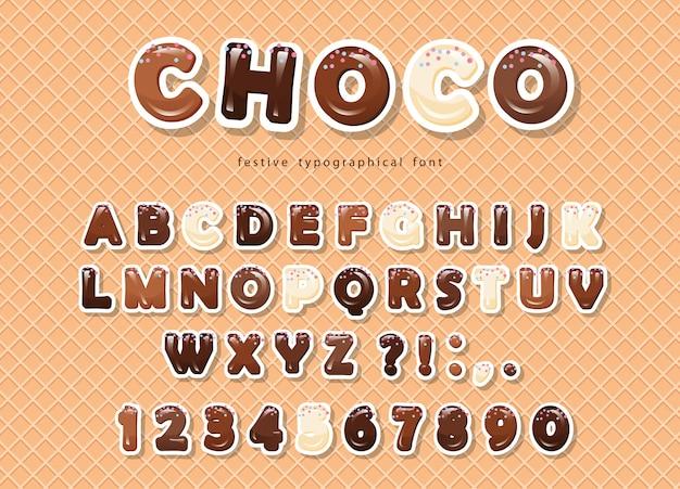 Carattere di cioccolato tagliato carta sullo sfondo di wafer.