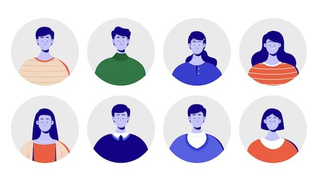 Carattere di concetto per il profilo dell'immagine con una faccia blu. avatar aziendali, immagini colorate di lavoratrici e lavoratrici. illustrazione piatta.