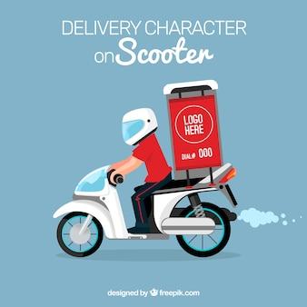 Carattere di consegna su scooter moderno
