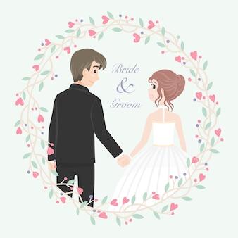 Carattere di coppia di sposi con cornice floreale