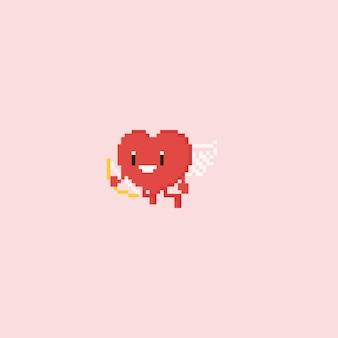 Carattere di Cupido cuore di pixel con la freccia