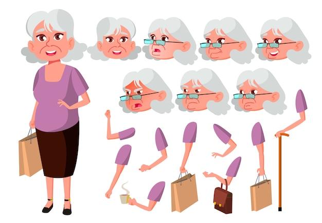 Carattere di donna anziana. europeo. costruttore di creazione per l'animazione. affronta le emozioni, le mani.