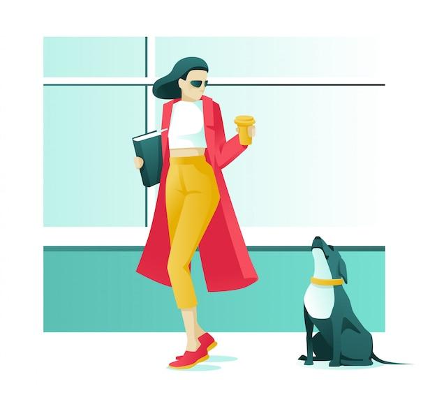 Carattere di donna con caffè e cane sulla strada