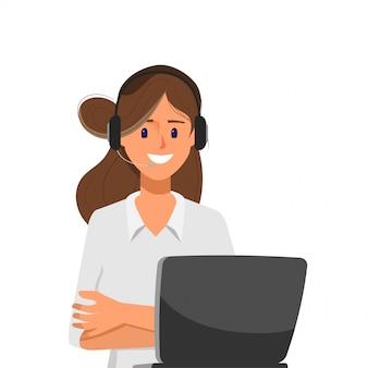 Carattere di donna di call center con telefono auricolare e laptop.