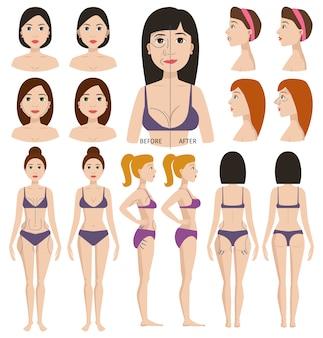 Carattere di donna di chirurgia plastica