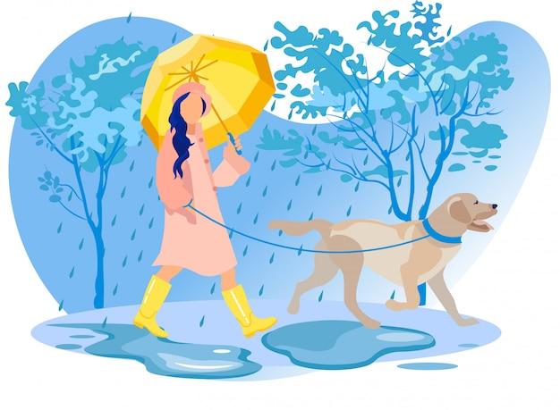 Carattere di donna in mantello e stivali a piedi con cane