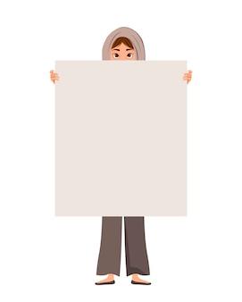 Carattere di donna in una sciarpa con foglio trasparente su sfondo bianco.