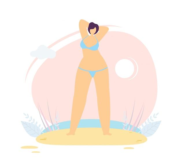 Carattere di donna positiva del corpo sulla spiaggia