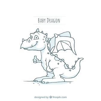 Carattere di drago bambino disegnato a mano