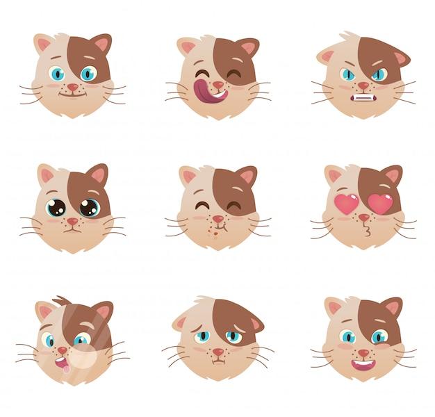 Carattere di emozioni di gatti