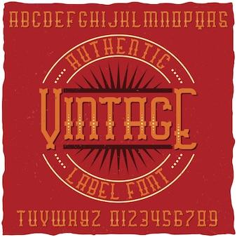 Carattere di etichetta vintage con design di etichetta di esempio. buono da usare in qualsiasi etichetta di design retrò.