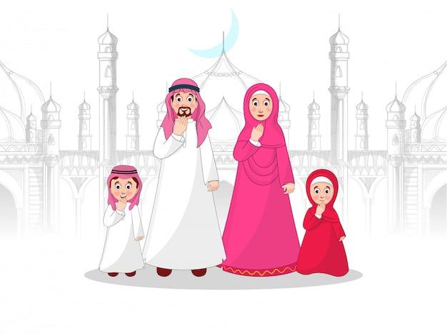 Carattere di famiglia musulmana di fronte alla moschea in stile schizzo.