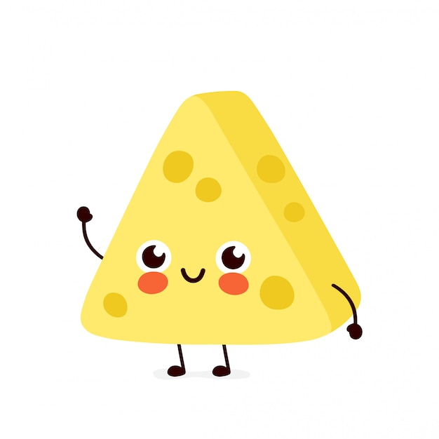 Carattere di formaggio sorridente felice carino. concetto di carattere del formaggio