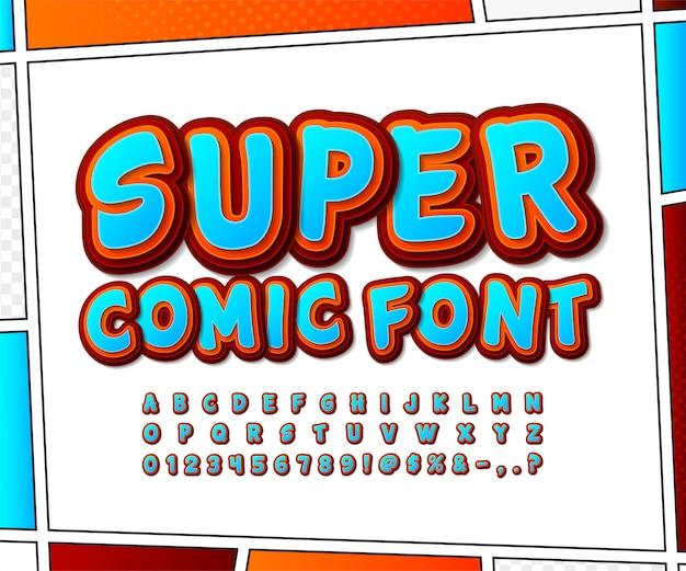 Carattere di fumetti. alfabeto di cartone animato in stile pop art