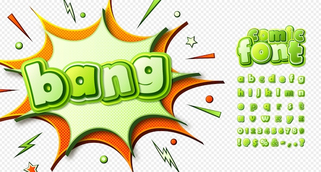 Carattere di fumetti, alfabeto divertente per bambini in stile pop art. lettere verdi multistrato con effetto mezzetinte su sfondo trasparente