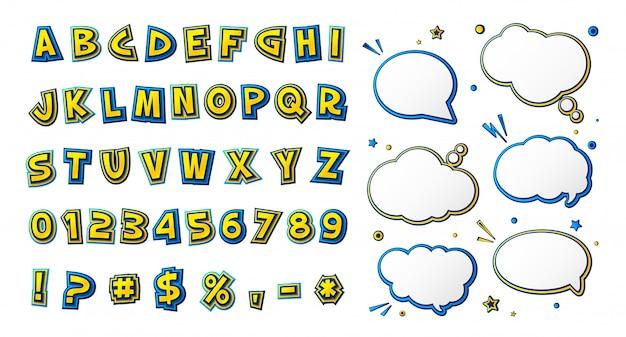 Carattere di fumetti, alfabeto giallo-blu da cartone animato e bolle di discorso