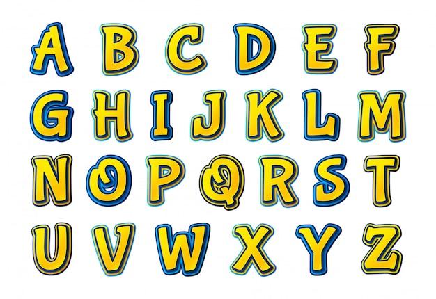 Carattere di fumetti. alfabeto multistrato da cartone animato