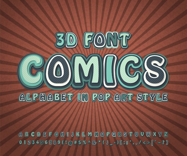 Carattere di fumetti, alfabeto pop art