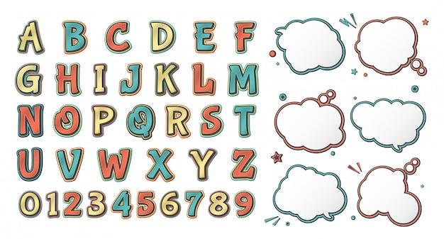 Carattere di fumetti retrò. alfabeto da cartone animato e set di bolle di discorso