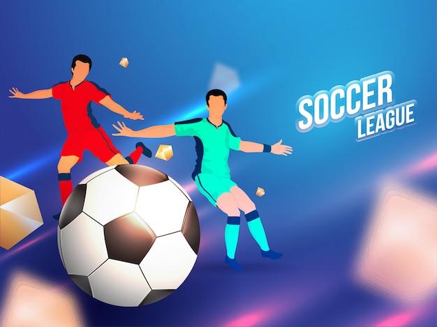 Carattere di giocatori di calcio con pallone da calcio sul retro sfocato lucido