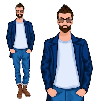 Carattere di giovane ragazzo hipster