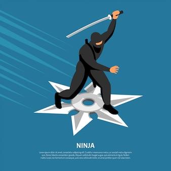 Carattere di guerriero ninja imbattibile in posa d'azione