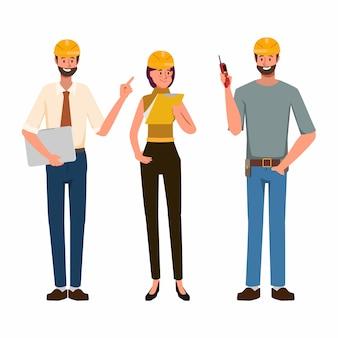 Carattere di industria della gente dell'ingegnere e lavoro meccanico nell'occupazione.