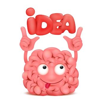 Carattere di kawaii dell'illustrazione del fumetto del cervello con il testo di titolo di idea