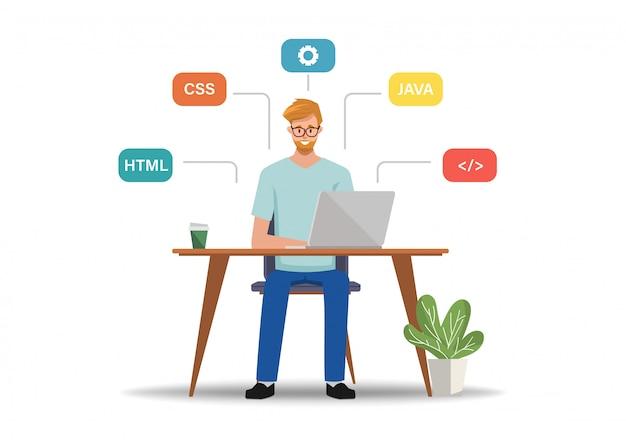 Carattere di lavoro del programmatore con un computer portatile. applicazione di sviluppo con processo di codifica.