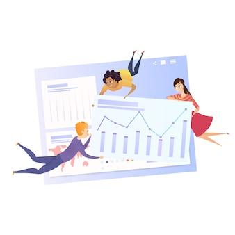Carattere di lavoro di squadra di analisi dei dati aziendali grath