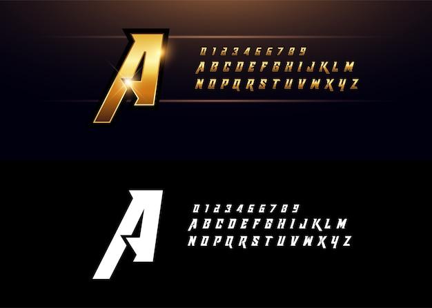 Carattere di lettere d'oro elegante metallico dorato di alfabeto