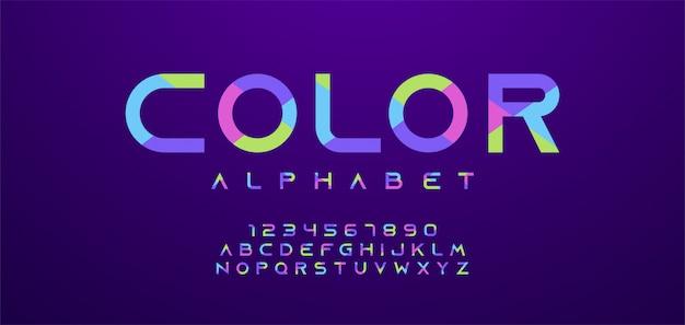 Carattere di lettere e numeri colorati. alfabeto moderno