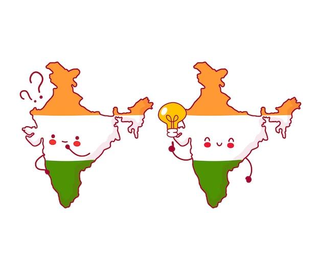 Carattere di mappa e bandiera dell'india divertente felice e triste sveglio con il punto interrogativo e la lampadina di idea