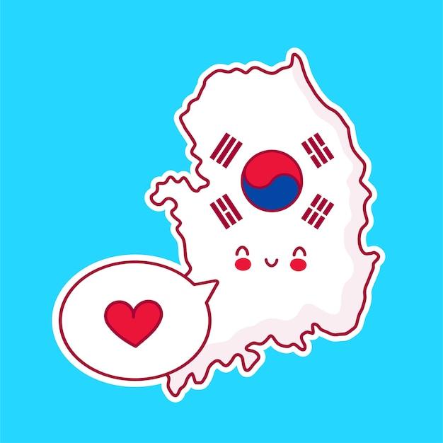 Carattere di mappa e bandiera di corea del sud divertente felice carino con cuore nel fumetto